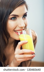 Woman hold juice glass,  isolated. Female happy model .