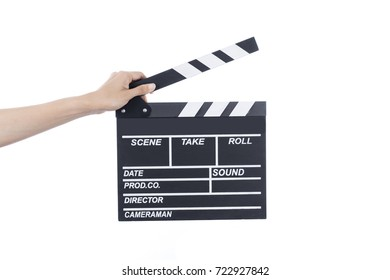 woman hold movie clapper on isolated and white background; film, cinema and video photography concept