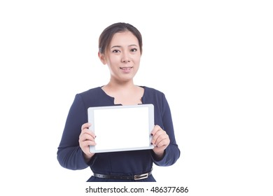 Woman hold tablet device isolated on white background
