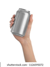 Woman holding aluminum can with beverage on white background