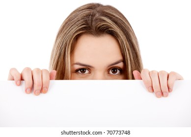 Woman holding a banner ad - isolated over a white background