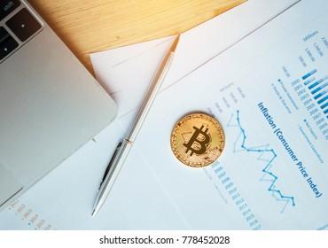 Woman holding Bitcoin,Financial concept with golden Bitcoin.