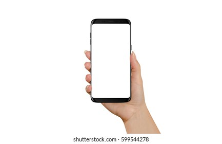 Woman holding black modern smart phone with isolated screen for app or web site presentation. Product mockup. Purple bokeh in background.