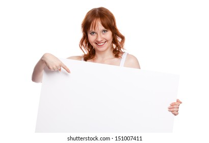 woman holding blank billboard, ready to add text, isolated over white background