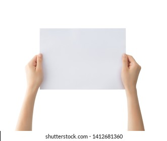 Woman holding blank paper , clipping path
