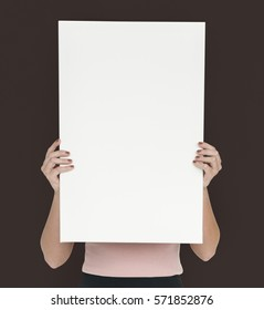 Woman Holding Blank Paper Shoot