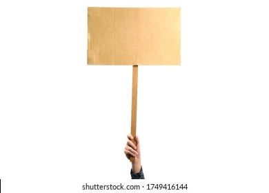 Woman holding a blank placard mock up on wood stick to put the text at protesting, isolated on white background.