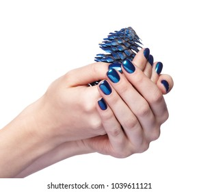 Woman is holding blue Christmas fir-cone. Female fingers with shiny blue nails manicure. Girl's hands isolated on white background