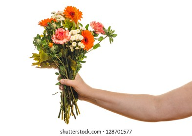 Woman holding a bouquet of flowers isolated on white background