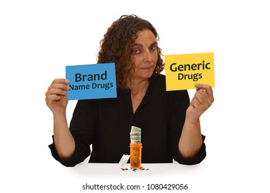 Woman holding Brand Name Drugs Generic Drugs Paper sign  prescription bottle with twenty dollar bill with medicine on table top white background