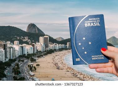 Woman holding a Brazilian passport overlooking Copacabana Beach, Rio de Janeiro, Brazil - Digital Composite