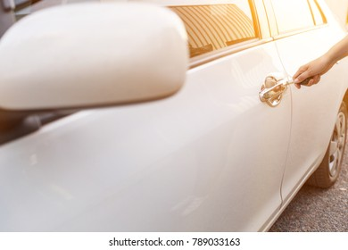 Woman Holding Car Key Opening Car Stock Photo (Edit Now) 789033163