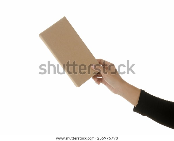 Woman holding a cardboard box with her hand. Useful for announcing, shipping information