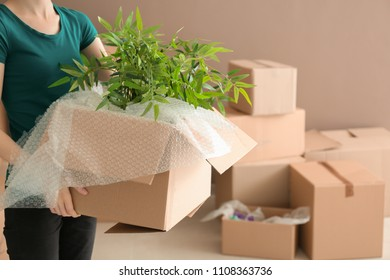 Woman holding carton box with houseplants indoors. Moving house concept