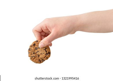 Woman holding a chocolate cookie with blank background