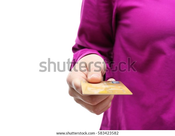 Woman holding credit card, closeup
