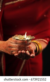 Woman Holding Deewe During Diwali Festival