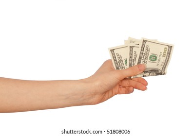 woman holding dollars in the hand for buying goods
