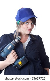Woman holding an electric cordless drill; isolated on a white background.