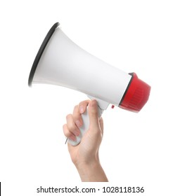 Woman holding electronic megaphone on white background