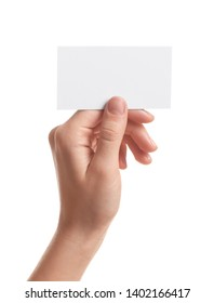 Woman holding empty business card isolated on white, closeup