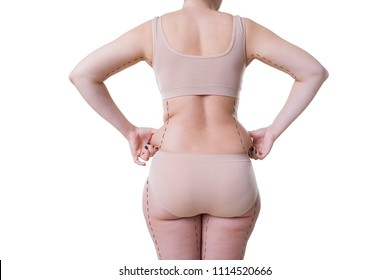 Woman holding fold of skin, liposuction, fat and cellulite removal concept, overweight female body with painted lines and arrows, isolated on white background