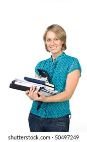 Woman holding a folder with documents