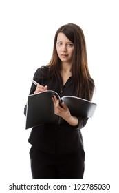 woman holding folder shot on white back ground