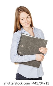 woman holding folders with documents isolated on white. Young secretary or accountant concept
