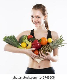 woman holding fresh and healthy food