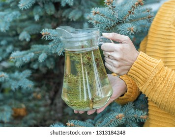 Woman holding a glass jug with pine tea before a pine tree - natural organic medicine