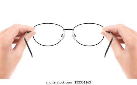 Woman holding glasses in hands. Isolated on white.