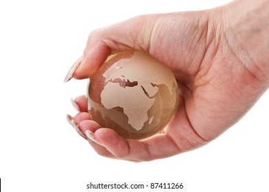 woman holding a globe isolated on a white background