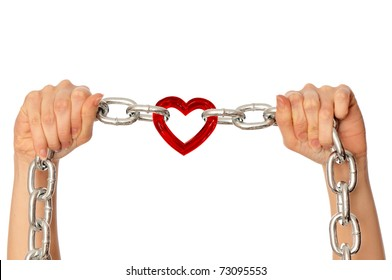 woman holding in the hands chain with heart as a symbol of strong love