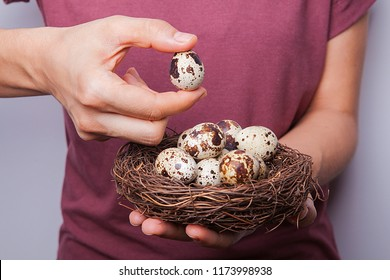 Woman is holding hands small quail eggs.