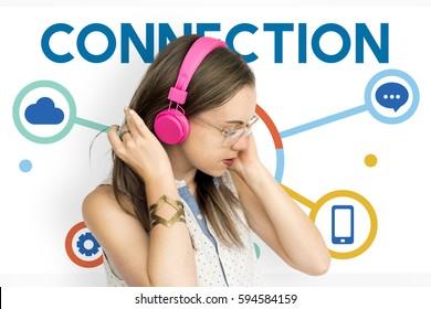 Woman Holding Headphones Social Media