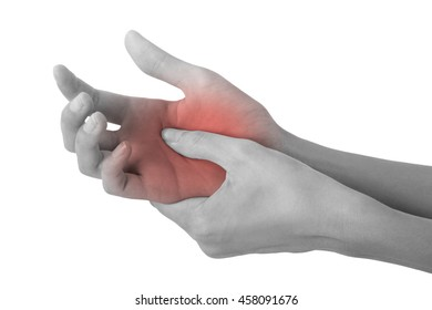 woman holding her beautiful healthy hand and massaging in pain area black and white color with red highlighted, Isolated on white background.