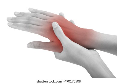 woman holding her beautiful healthy back hand side and massaging in pain area, black and white color with red highlighted, Isolated on white background.
