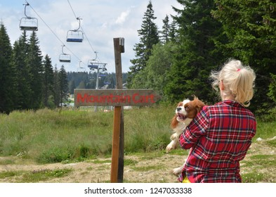 Woman holding her dog - Cavalier King Charles Spaniel - standing by the wooden sign for Mountain Cart in hills