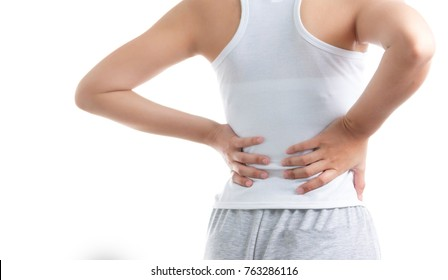 Woman holding her lower back in pain on white isolated