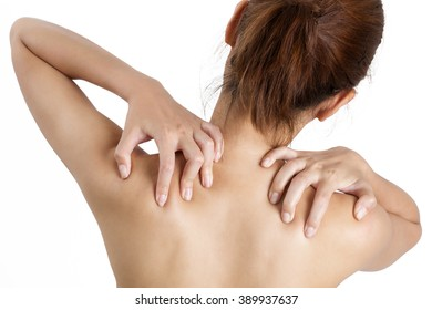 woman holding her shoulder on pain area, isolate on white background.