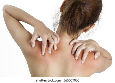 A woman holding her shoulder in pain, with red highlighted on pain area on a white background
