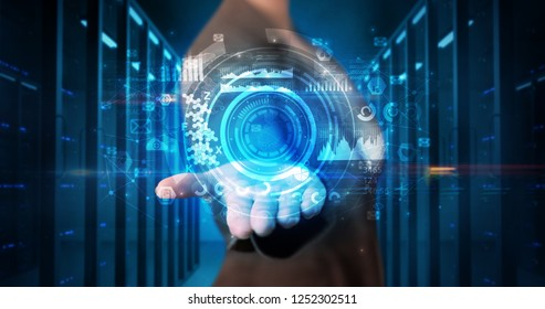 Woman holding hologram projection displaying biometric security concept