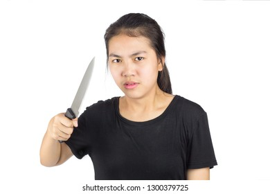 woman holding a knife stressful to the problem . crazy girl