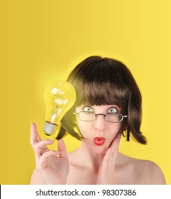 A woman is holding a light bulb and looks surprised. There is a yellow background with room for your text. The light bulb can represent an idea or success concept.