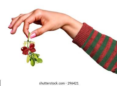 Woman holding mistleto