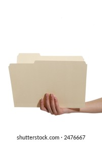 A woman holding an open manila folder isolated over white