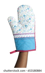 Woman holding a oven mitt isolated on white background