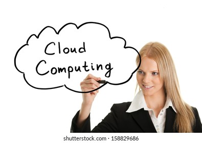 Woman holding pen drawing cloud computing concept on white screen