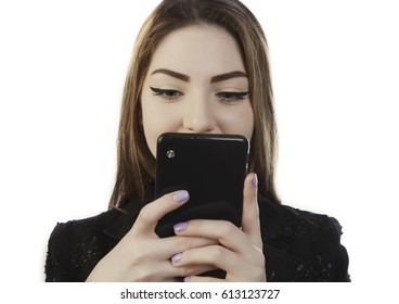 woman holding phone close up view